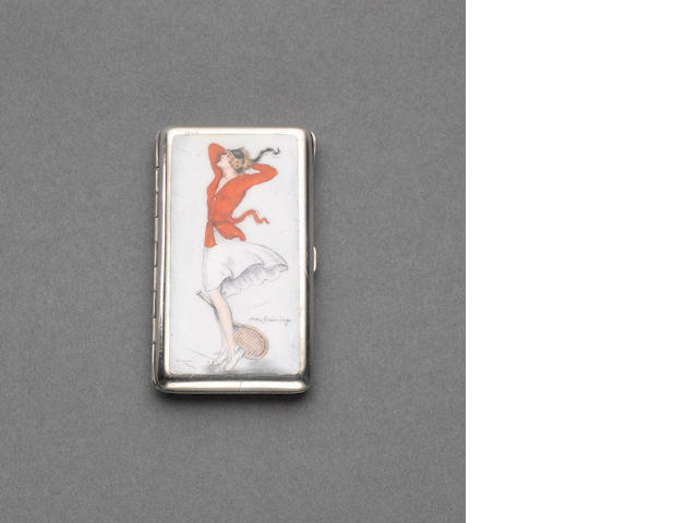An Egyptian silver and enamelled erotic cigarette case, Cairo 1926, the enamel signed Alla(x) Brünni