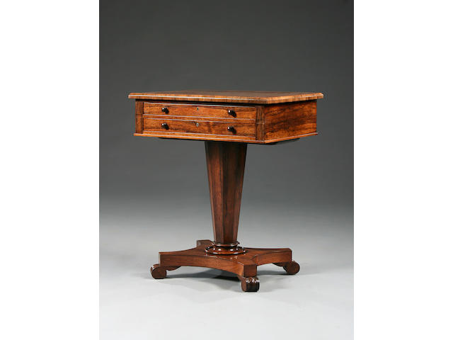 A William IV rosewood pedestal table,