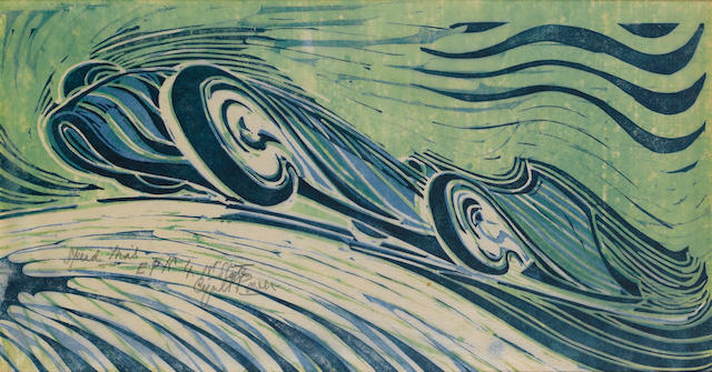 "Cyril Edward Power (British, 1872-1951) Speed Trial Colour linocut, on ... signed and inscribed ""EP"