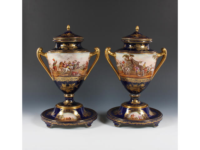 A pair of Vienna style vases, covers and stands Late 19th Century