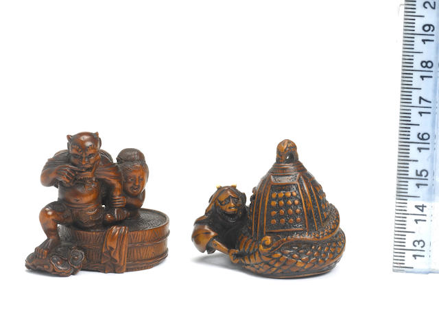 Two wood figural netsuke groups 19th century