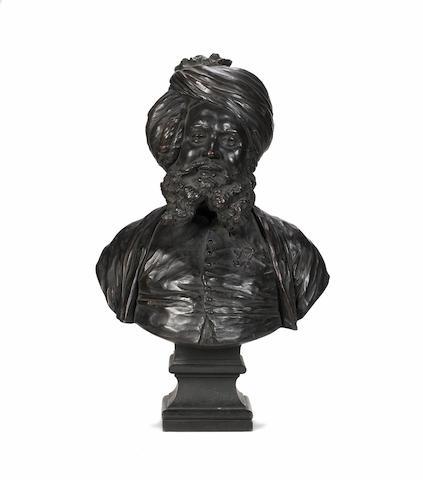 Joseph Edgar Boehm; A pair of bust bronzes of Muhammad Bakhsh Shakh and Munshi Hafiz Abdul Karim tog