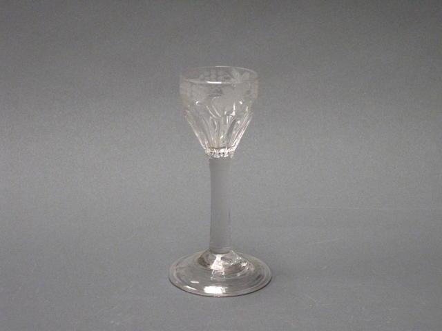 A plain stem wine glass Circa 1760