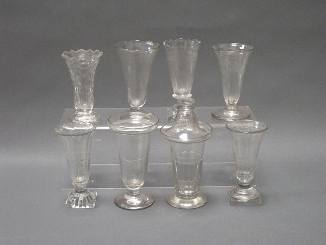Two dessert glasses, one with cover, and seven jelly glasses Circa 1800-1830