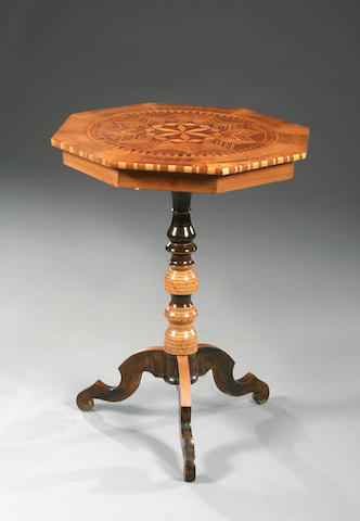 An Italian octagonal parquetry occasional table, 19th Century,