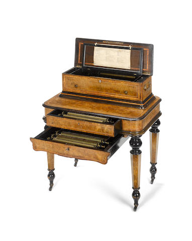 A fine Mandoline interchangeable cylinder musical box-on-stand,  Swiss, circa 1902,