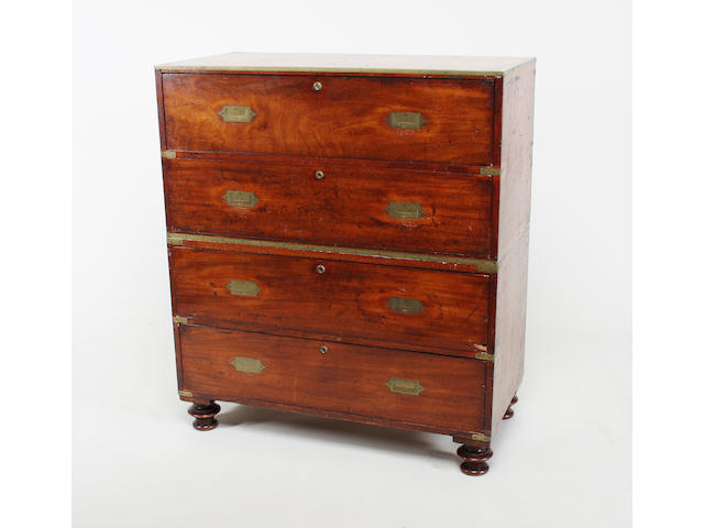 A well-provenanced mid-19th century mahogany and brass bound two part campaign chest