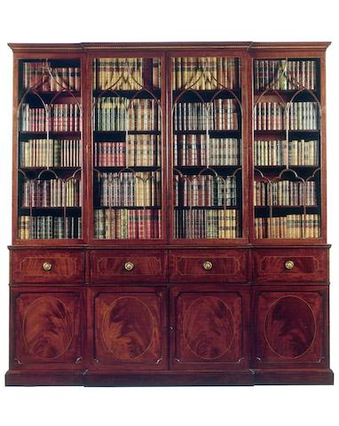 A George III mahogany breakfront secretaire Library Bookcase
