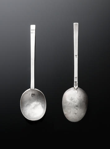 A mid 17th century provincial  silver puritan spoon, by William Dodson, Lewis circa 1650,
