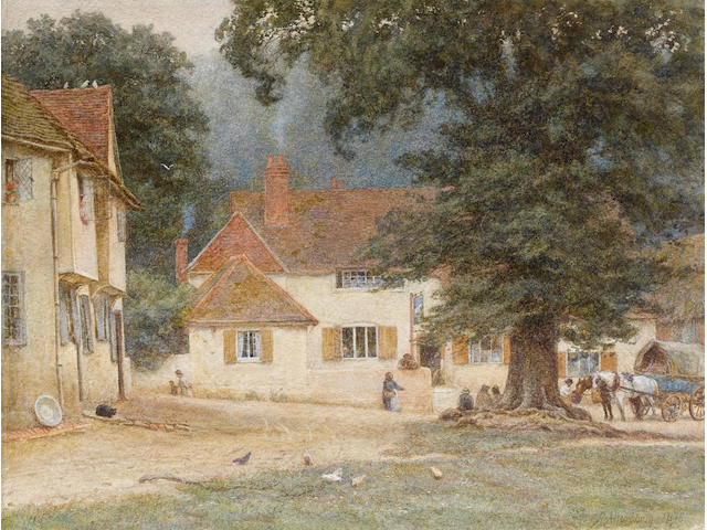 Helen Allingham, RWS (British, 1848-1926) A village square unframed