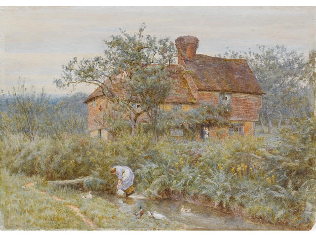 Helen Allingham, RWS (British, 1848-1926) An old Surrey cottage unframed