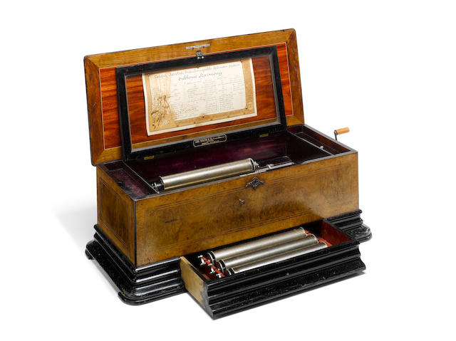 A rare tri-revolver interchangeable 'Sublime Harmony' cylinder musical box by George Baker, Geneva,