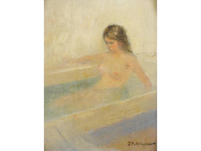 Ivan Pavlovich Pokhitonov (Ukrainian, 1850-1923) Contemplative bathing