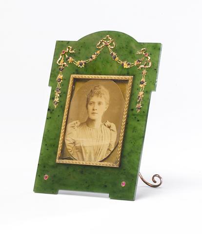 Gold, silver gilt and nephrite frameFaberge, Workmaster Hjalmar Armfelt, St. Petersburg, 1898-1908,