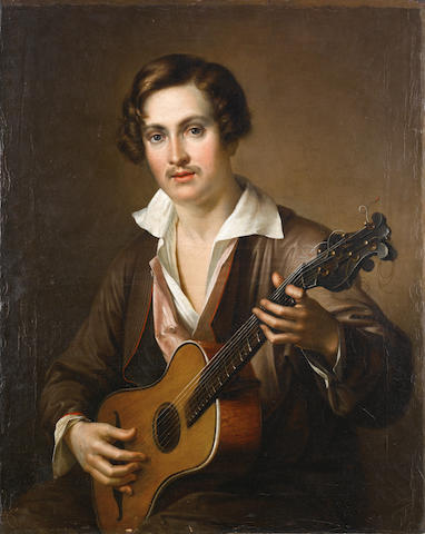 Vasili Andreevich Tropinin (Russian, 1776-1857) Man playing the guitare