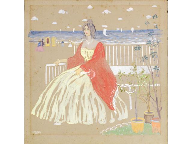 Wassily Kandinsky (Russian, 1866-1944) 'Au bord de la mer' ('Am Strande') image size 29 x 29cm (11 7/16 x 11 7/16in).; cardboard size 32.7 x  32.5cm (12 7/8 x 12 13/16in). unframed