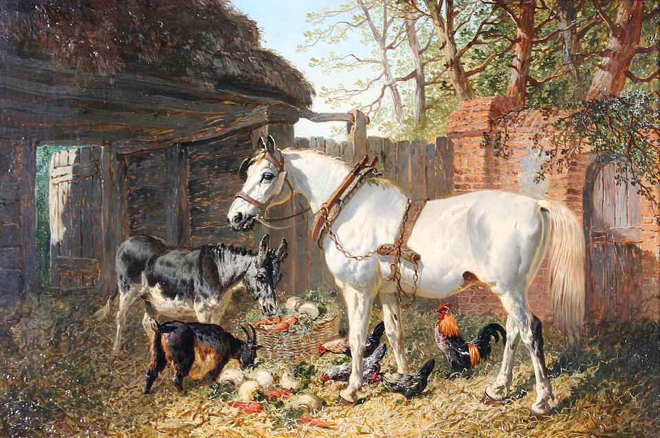 John Frederick Herring jnr (1815-1907) and studio 'Feeding Time' and 'Hauling Timber', a pair,