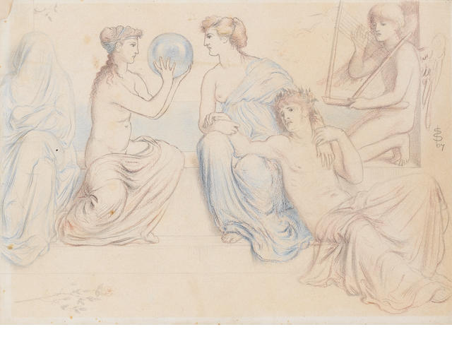 Simeon Solomon (British, 1840-1905) Classical figures at leisure, 1867  unframed