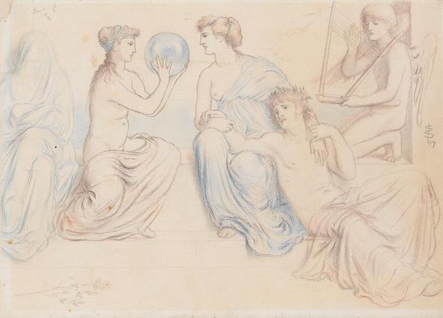 Simeon Solomon (British, 1840-1905) Classical figures at leisure, 1867 unframed