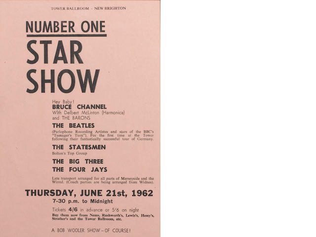 A handbill for the Beatles at the Tower Ballroom, New Brighton, Thursday, 21st June 1962,