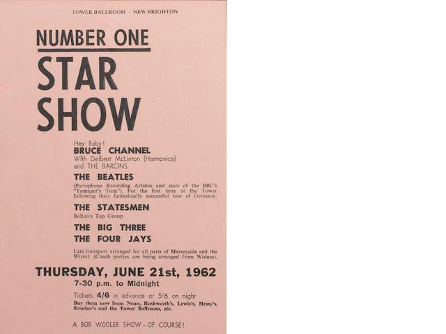 A handbill for the Beatles at the Tower Ballroom, New Brighton, Thursday, 21st June 1962,