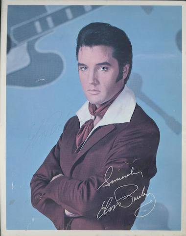 An autographed Elvis Presley RCA record catalogue card,