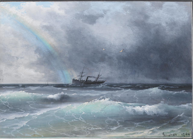 Migirdic Givanian (Armenian, 1848-1906) Rainbow breaking through the storm unframed
