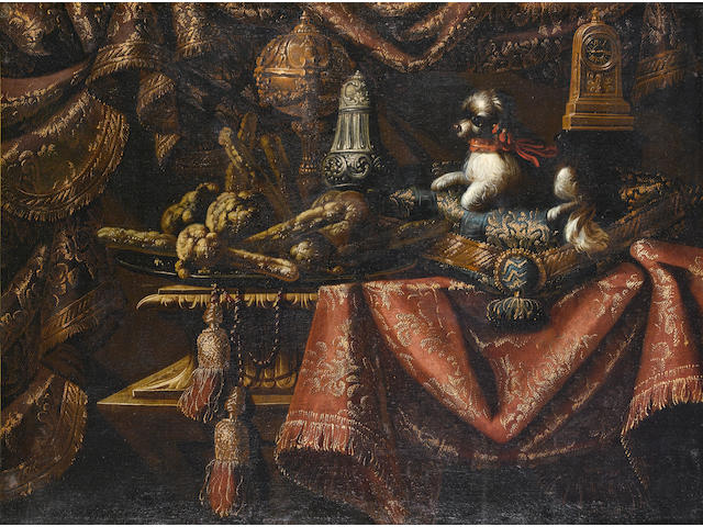 Francesco Fieravino,called il Maltese, pair of still life with dogs, cm 120x70