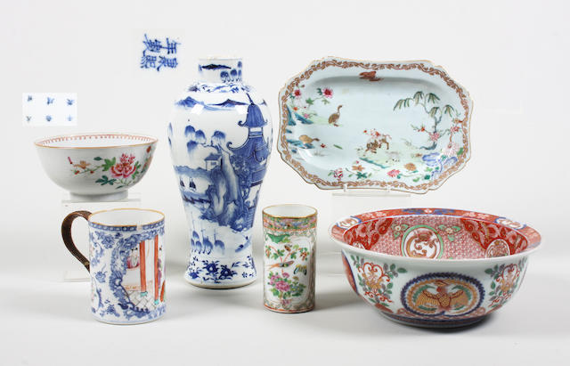 A Chinese export famille rose small platter and five other pieces 18th Century and later