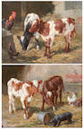 Claude Cardon (British, active 1892-1915) Calves in the straw, and another similar, a pair,