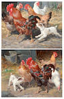 Claude Cardon (British, active 1892-1915) Chickens and puppies in a farmyard, and another similar, a pair,
