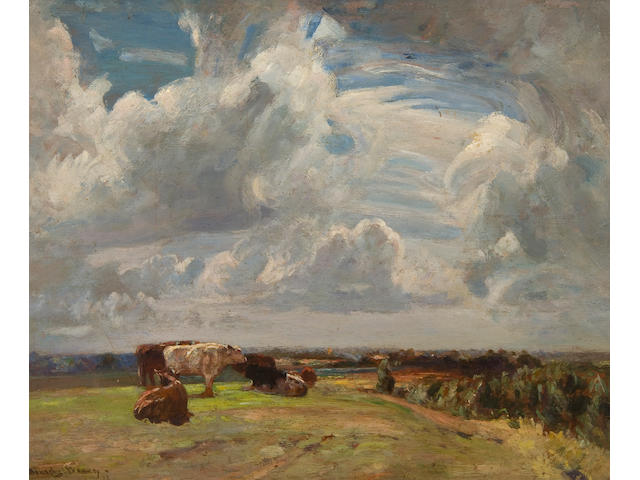 Sir John Alfred Arnesby Brown (British, 1866-1955) Cattle in a landscape beneath summer skies