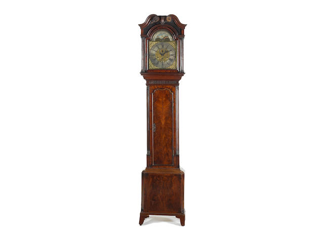 A George III mahogany longcase clock by James Sandford, Manchester, the arched gilt brass dial with