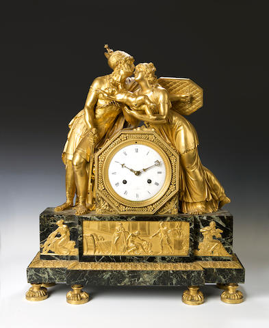 A 19th century French ormolu and green figural marble mantel clock A Paris