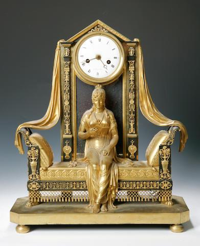 A French 19th century gilt ormolu mantel clock  Vaillant a Paris