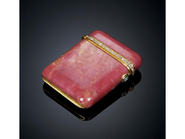 A pink marble, gold and diamond set vesta