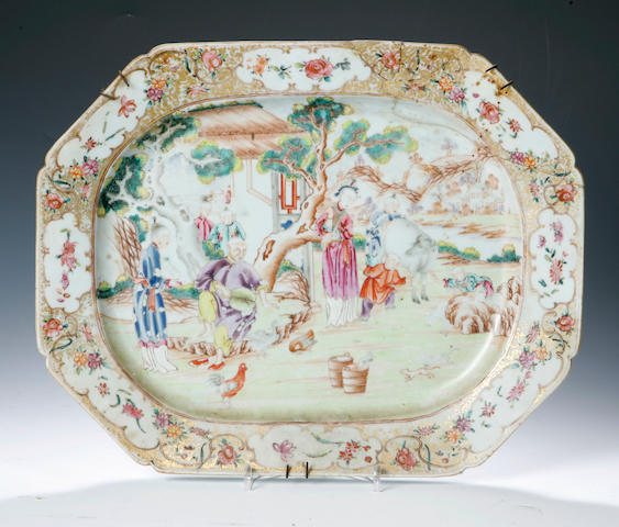 A famille rose meat dish 18th century