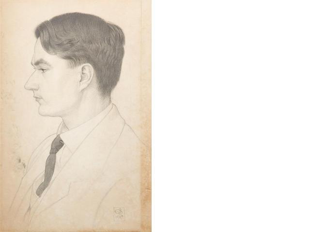 Joseph Edward Southall (British, 1861-1944) Portrait of John Drinkwater