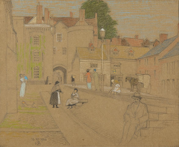 "Joseph Edward Southall (British, 1861-1944) Ludlow (together with ""Fables and Illustrations"": A folio of Joseph Southall work, ex libris John Drinkwater, with annotations and inscriptions by Southall, two pencil cartoons by Southall and a sketch of a similar Ludlow subject by Arthur Gaskin.)"
