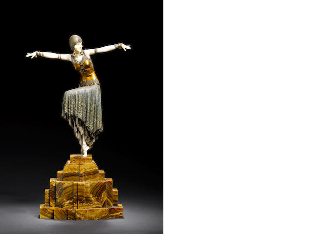 Demetre Chiparus 'Shimmer' an exceptional gilt and cold painted bronze and carved ivory figure, circ