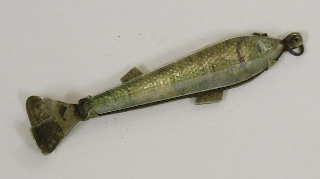 A rare glass and nickel spinning bait