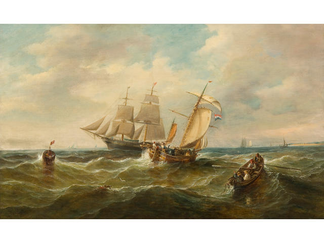 John Moore of Ipswich (British, 1820-1902) Sailing vessels off the coast