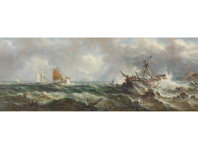 John Moore of Ipswich (British, 1820-1902) Boats in rough seas off the coast