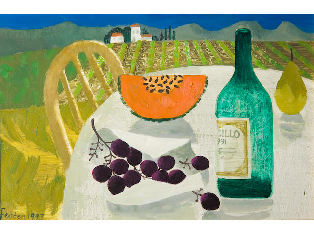 Mary Fedden R.A. (British, born 1915) Design for a wine label: Still life with grapes