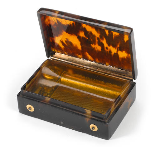 A fine petit tortoiseshell musical snuffbox, playing two airs, by F Nicole, circa 1820,