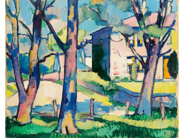 Samuel John Peploe, RSA (British, 1871-1935) Dumfries farm scene