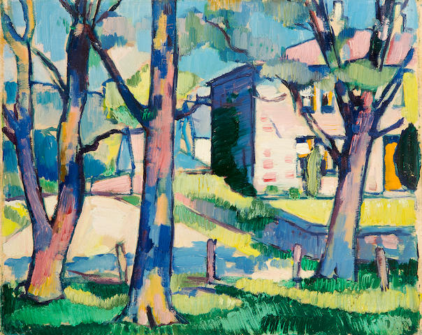 Samuel John Peploe, RSA (British, 1871-1935) House and trees, Dumfriesshire