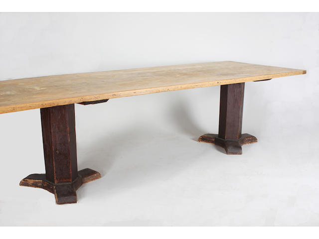 A long 19th century pine trestle refectory type table