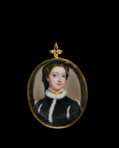 William Prewett (British, active 1735-1750) A Lady, wearing robe of black brocade, the bodice and sleeves trimmed with white fur, pearl and gold choker, her brown hair dressed beneath a black wimple