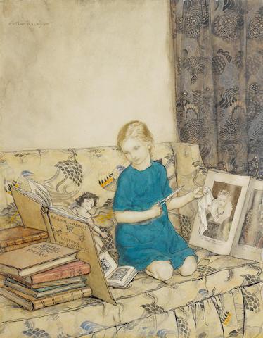 Arthur Rackham (British, 1867-1939) Portrait of the artist's daughter, Barbara 1915 unframed